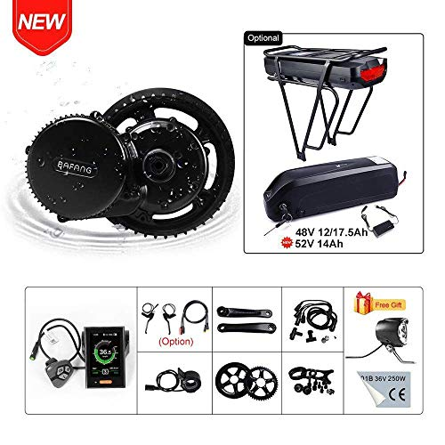 BAFANG BBS02B 48V 750W Ebike Motor with LCD Display 8fun Mid Drive Electric Bike Conversion Kit with Battery (850C Display, Motor kit+44T Chainring+Shark Battery 48V 17.5Ah)