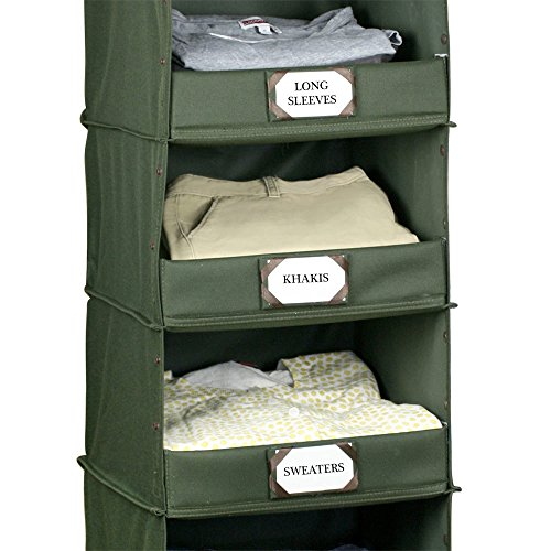 The G.U.S No-Sag Hanging Deluxe 4-Shelf Closet Organizer With Front Flip-Down Flap, Olive Green (Shelves Closet A In Building)