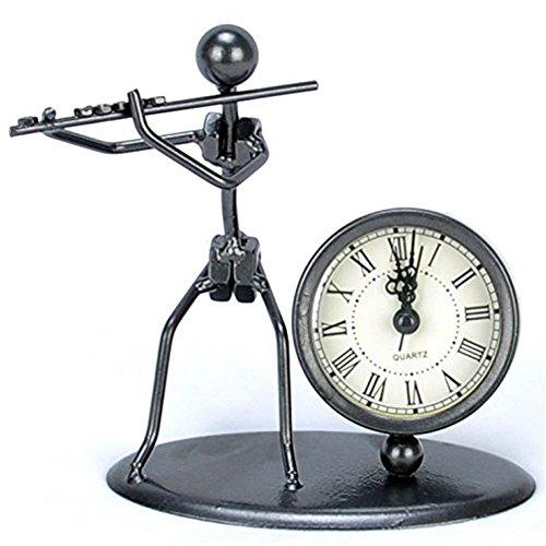 Antique Hand Made Crafts Retro Style Desk  Shelf Clock Musician Statue Metal Modern Home Office Decoration (Fife)