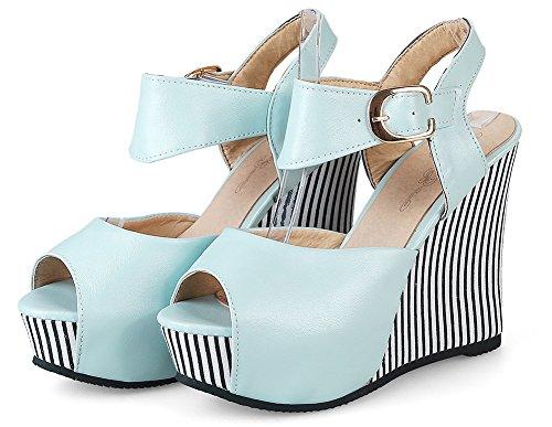 Sandales Femme Epaise Plateforme Mode Bleu Fille Rayures Noires Voyage Semelle Aisun ZdUwq1xnU