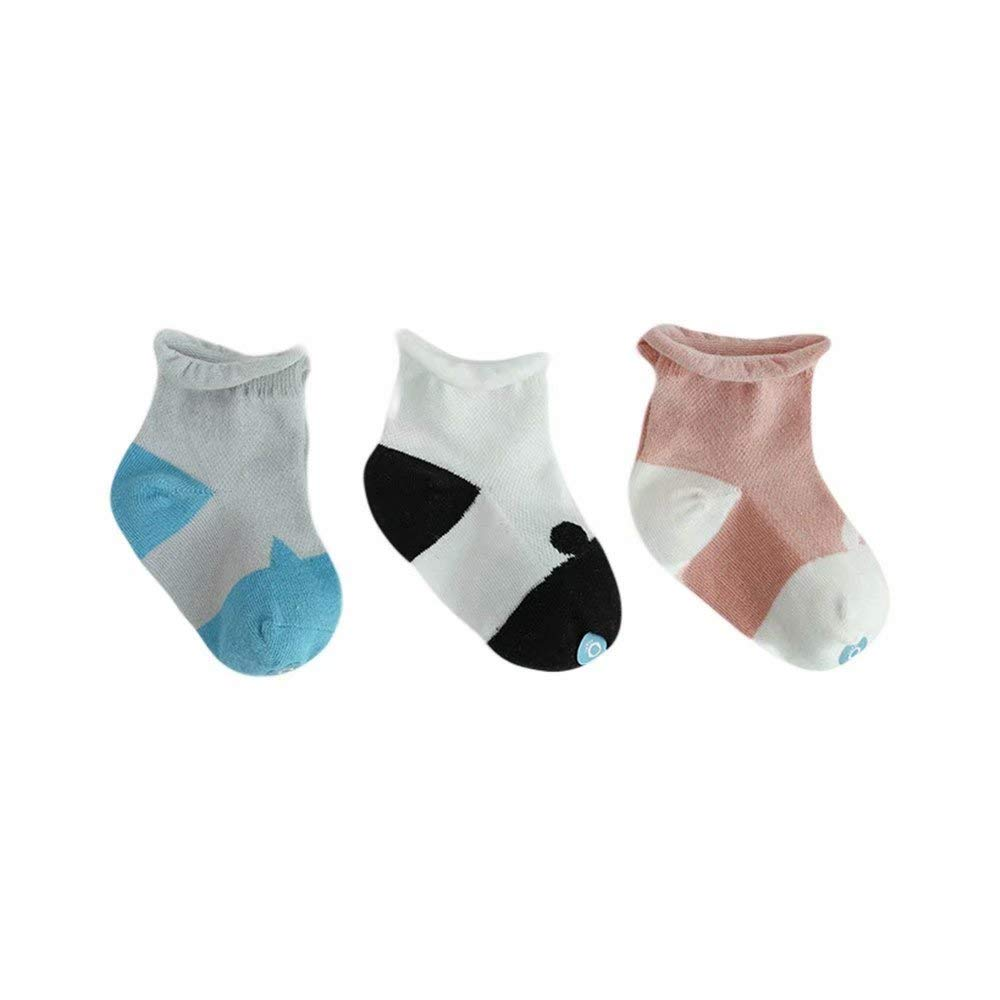 3 Pairs Mesh Thin Newborn Baby Cotton Socks Breathable and Non-Slip Toddler Socks for 0-3 Years Old Baby