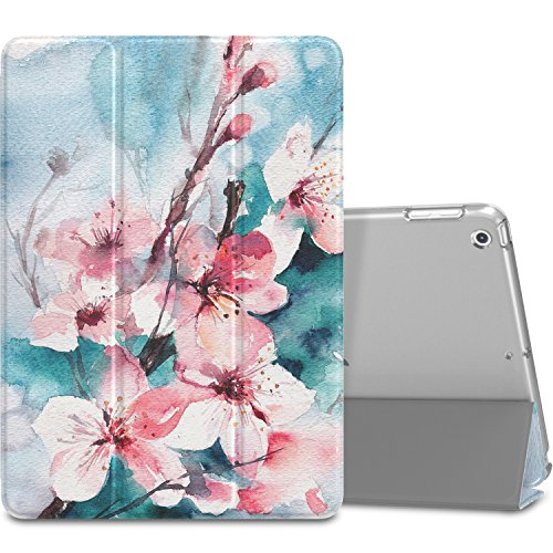 MoKo Case Fit 2018/2017 iPad 9.7 6th/5th Generation, Slim Lightweight Smart Shell Stand Cover with Translucent Frosted Back Protector Fit Apple iPad 9.7 Inch 2018/2017, Peach Blossom(Auto Wake/Sleep)