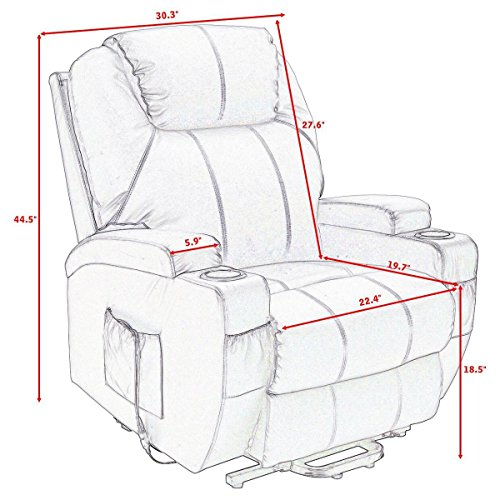 COLIBROX--Lift Chair Electric Power Recliner w/Remote and Cup Holder Living Room Furniture. by COLIBROX (Image #2)