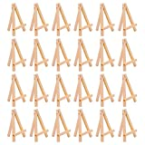 Sunmns 24 Pack Mini Table Top Natural Wood Tripod Display Easel (5 Inch)