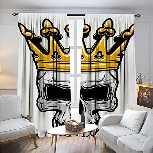 BlountDecor KingBlackout DrapesHand Drawn Crowned Skull Cranium with Coronet Tiara Halloween Themed ImageBlackout Curtains Room Darkening Thermal Insulated W84 x L84 Golden and Pale Grey
