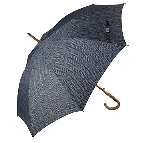Designer Wood Classics (Balios Prestige Walking Umbrella, Real Wood Handle & Bamboo Shaft, Auto Open, Windproof Designed in UK (Herringbone Black & White))