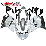 Sportfairings Injection ABS Plastic White Silver Fairing Kit For Honda CBR1100XX Year 1997 - 2007 Sportbike Cowlings Frames