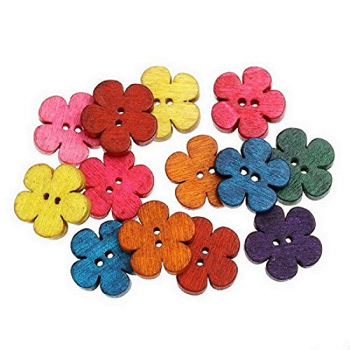 White Rainbow Butterfly Snap (Mega Shop - Sewing Wood Craft Buttons - Size 19 x 18 mm with 2 Holes Clothing Accessories - Bulk 50 Pcs. [ Mixed Flower For Diy Kid ] Crafting Assort Button Fasteners Scrapbooking)
