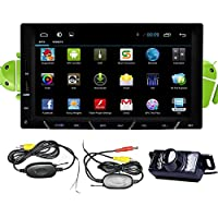 Wireless camera+Android 4.2 Double Din 7 inch Capacitive HD Multi-touch Screen Car None-DVD Player Stereo In Dash GPS Navi Navigation Support 3G/Wifi/Bluetooth/DVR/1080P/Air Play/SD/USB/AM/FM Radio Support Screen Mirroring for Android Phones