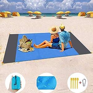 MILIER Coperta da Spiaggia Coperta da Picnic Impermeabile Tappetino da Picnic Resistente alla Sabbia con Ancora per… 7 spesavip