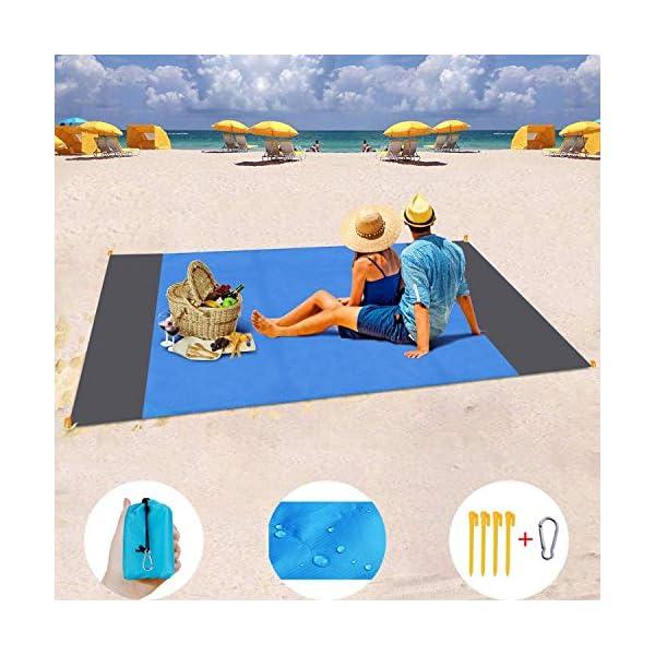 MILIER Coperta da Spiaggia Coperta da Picnic Impermeabile Tappetino da Picnic Resistente alla Sabbia con Ancora per… 1 spesavip