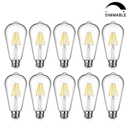 Vintage LED Edison Bulb Dimmable, 6W, 60W Equivalent, High Brightness 800 Lumens, Daylight White 5000K, Filament Light Bulb, ST64 Antique LED Bulbs, CRI 90+, E26 Base, Clear Glass, Pack of 10