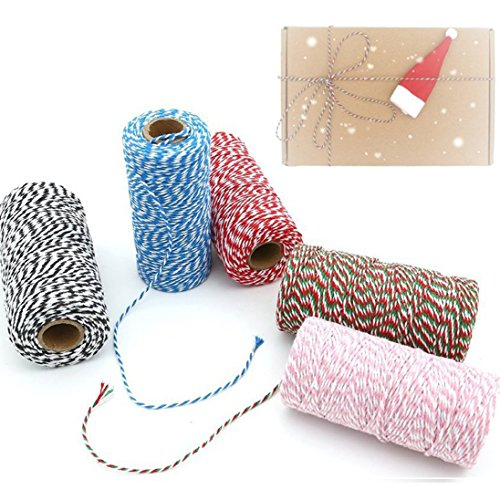 Baker's Twine, 5 Rolls Cotton Kitchen Twine Christmas Twine Cooking String Cotton Twine for Christmas Birthday Gift DIY Crafts (2mm x 100m)