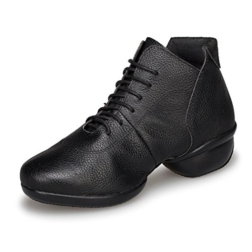 Lace 4cm Sneakers Heel Leather up Ballroom Shoes Dance Modern Minishion Sport Womens Black Practice LD079 Fitness EcqxZ1BA
