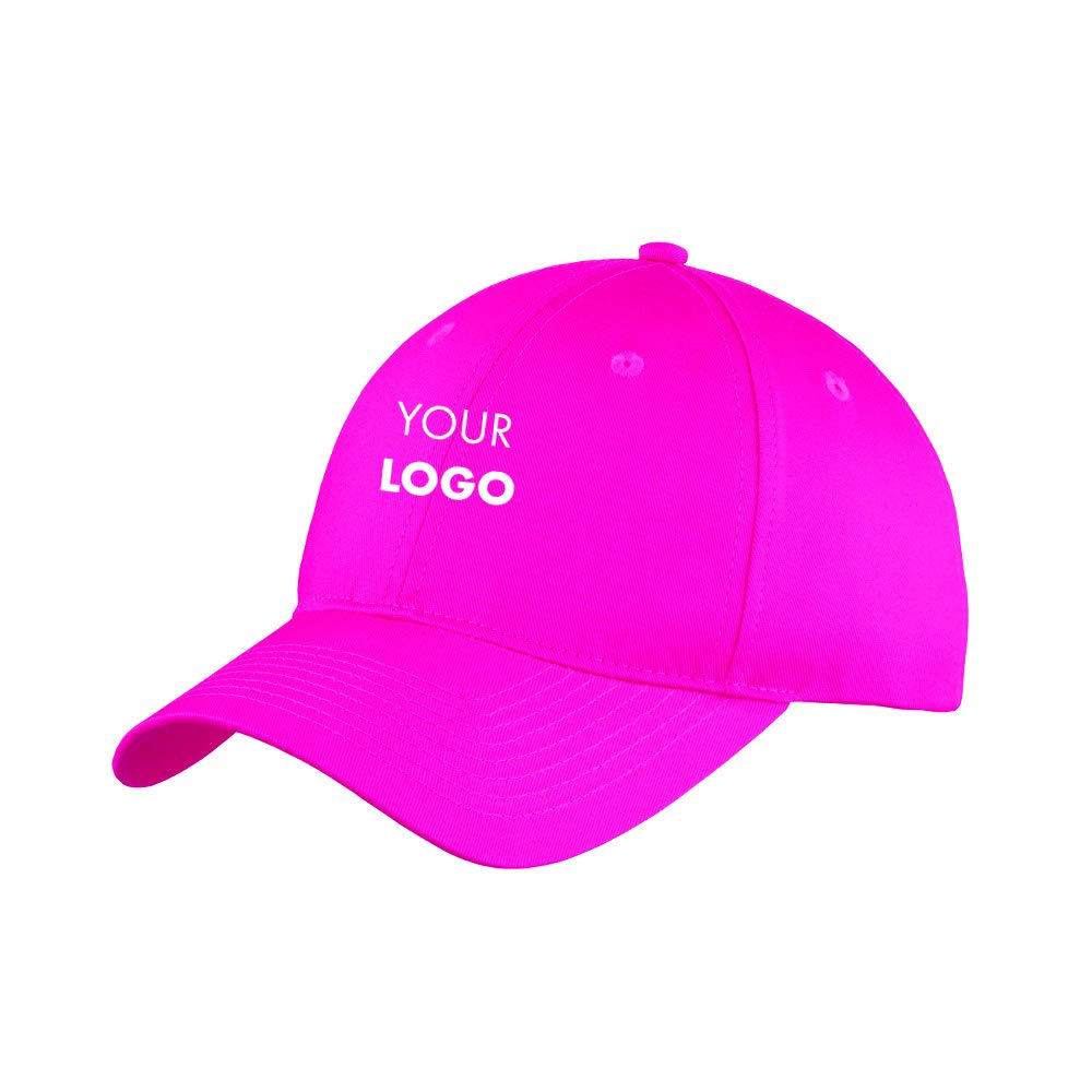Custom Embroidered Port & Company Six-Panel Unstructured Twill Cap - Pack of 5 Neon Pink