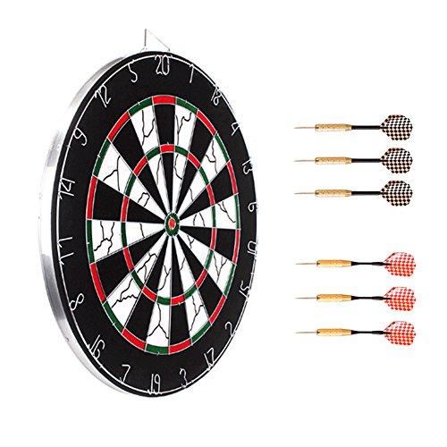 (Orangehome Dartboard Double Sided Dart Backboards with 6 Brass Darts Steel Tip Dartboard Bundle 18 Inch)