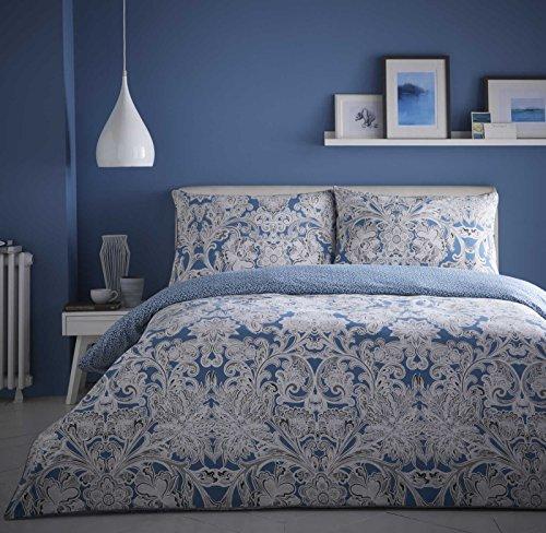 Appletree Cotton Bedding, Satira Duvet Covers, Modern Paisley Print, Floral Filigree Design, Easy Care Cotton Bedding, Blue, Teal,White, UK King