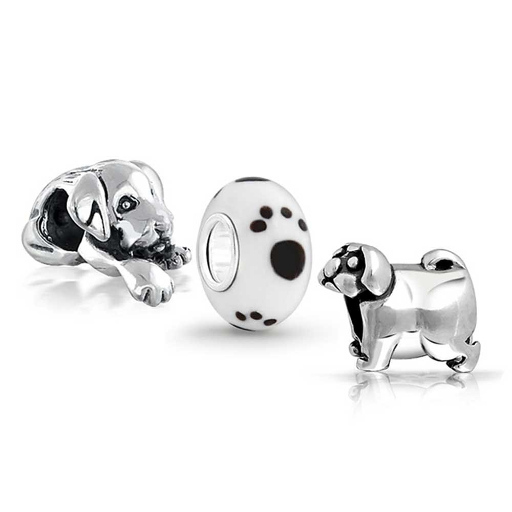 Bling Jewelry Plata de Ley Cute Dog Lovers Beads Fits Pandora charms