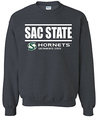 Image One NCAA Cal State Sacramento Hornets Bars Logo Crewneck Sweatshirt, X-Large,DarkHeather