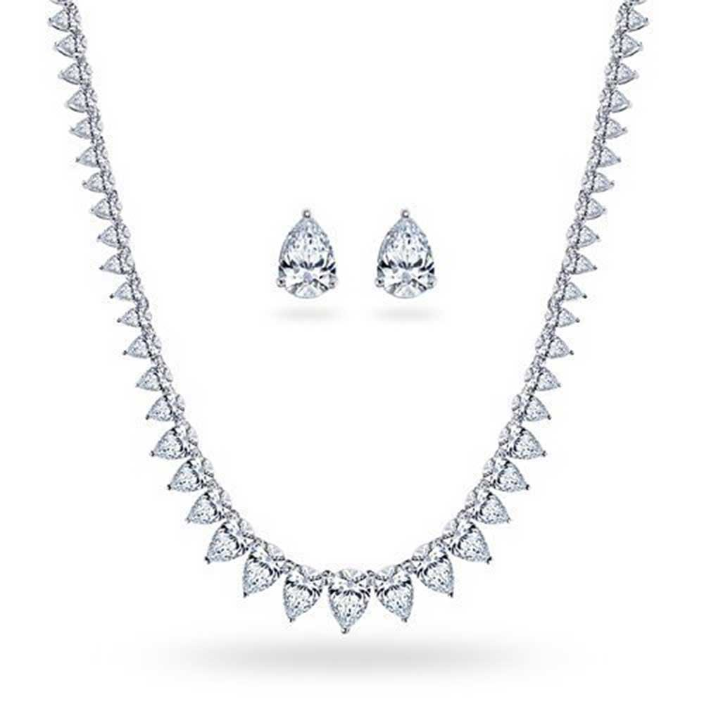 Bridal Cubic Zirconia Statement Teardrop AAA CZ Tennis Necklace Earrings Jewelry Set for Women Wedding Silver Plated by Bling Jewelry
