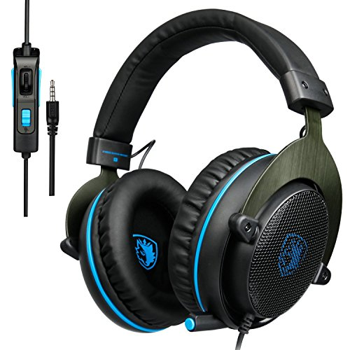 [New Update Version Xbox one Gaming Headset] SADES R3 Over Ear Stereo Gaming Headset with Mic Bass Volume Control for Xbox One PS4 PC PC Laptop(Black&blue) ¡­