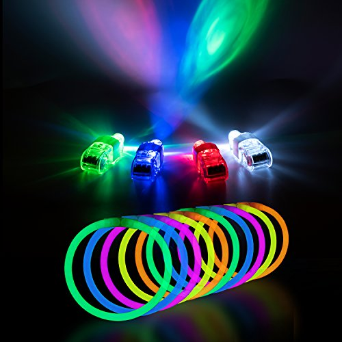 """Glow Stick Bulk Party Favors for Kids & Adults (140-Pc. Bulk Toys Bundle); 100 8"""" Glow Sticks + 40 LED Finger Lights Neon Party Supplies – PartySticks Glow in the Dark Party Supplies Value Pack (Glow In The Dark Party Bags)"""
