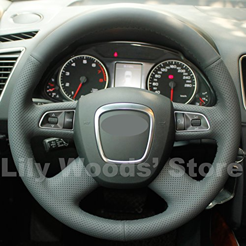 Hand sewing Black Genuine Leather Steering Wheel Cover for Audi Old A4 B7 B8 A6 C6 2004-2011 Q5 2008-2012 Q7 2005-2011