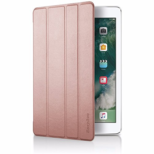 EasyAcc Funda iPad 2017 9.7 A1822/A1823 Ligera Auto-Desbloquear Función de Soporte Case Protectora y Resistente Gris Oro Rosa