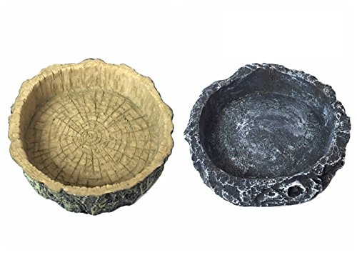 Petforu Reptile Food Dish, 2 Pack Reptile Feeding Dish Terrarium Bowls Pet Habitat Décor (TREE LINE + GREY) by Petforu