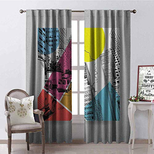 Gloria Johnson City Blackout Curtain Urban Illustration with Comic Strip Design Trucks and Van Architecture Modern Times 2 Panel Sets W52 x L63 Inch Multicolor