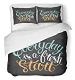 Emvency 3 Piece Duvet Cover Set Brushed Microfiber Fabric Breathable Sketch Everyday is Fresh Start for Letter for Your Design Text Brush Cursive Bedding Set with 2 Pillow Covers Full/Queen Size