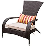 Sundale Outdoor Deluxe Wicker Adirondack Chair Patio Yard Furniture All-Weather Lounge Chair with Cushion and Pillow