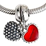 Mother Daughter Son Charm 925 Sterling Silver Enamel Charm Love Heart Charm Family