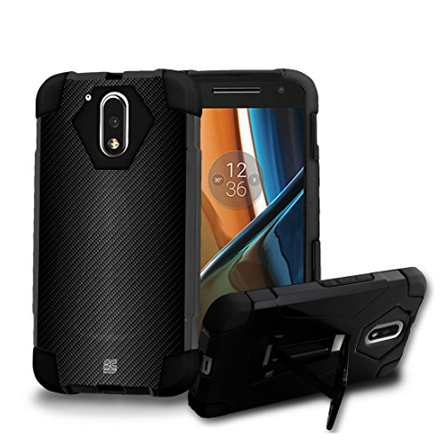 Price comparison product image Moto G4 / Moto G (4th. Gen) - [Gray Carbon Fiber] Dual Armor Kickstand Case, Atom LED, Tempered Glass Screen Protector and 18W [Qualcomm Quick Charge 2.0] Car Charger with Micro USB Cable [4 ft.]