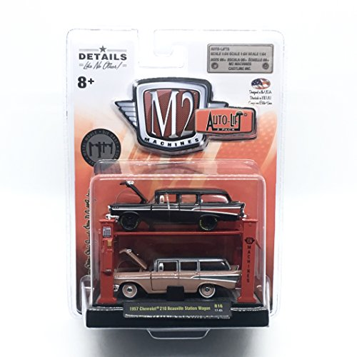 M2 Machines 1957 Chevrolet 210 Beauville Station Wagon (Release 16) Auto-Lift 2-Pack - 2017 Castline 1:64 Scale Die-Cast Vehicles & Auto-Lift Display Set (R15 17-05) ()