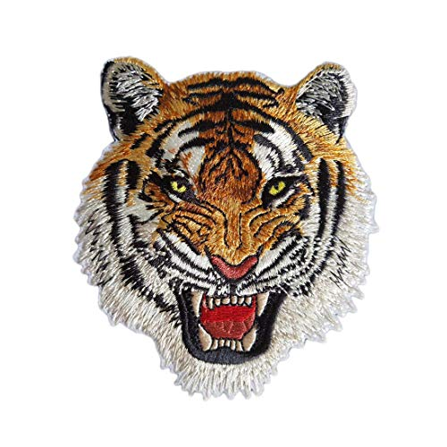 2Pcs DIY Tiger Iron-On Patch Embroidered Appliques Clothes Patches Clothes Sewing Embroidery Process