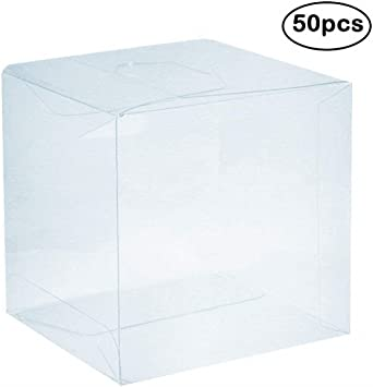 Square Transparent PVC Cubes Sweets Cup Cake Wedding Party Favour Gift Boxes