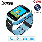 Dxrise Games GPS tracker watch phone gps smartwatch kids watches smart baby watch bracelet with camera flashlight function for girls boys toys gift (Blue)