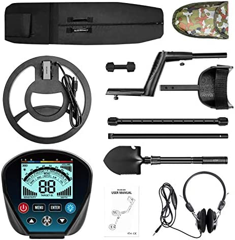 """Professional Metal Detector for Adults, High Sensitivity 9 Identification Levels Gold Detector with PinPoint and Discrimination Mode LCD Backlight 10"""" Waterproof Search Coil with Headphone, Bag&Shovel"""