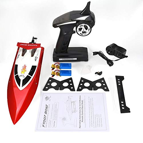 Emily Feilun FT007 2.4G RC Racing Boat Super Speed Electric RC Boat Toy 2 Batteries Red 1400mAh US ()