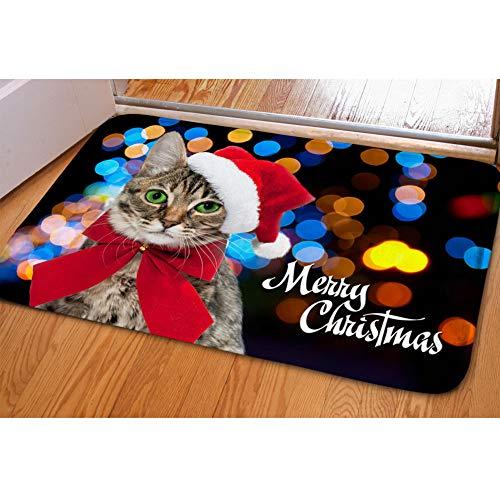 FUIBENG Indoor Outdoor Stairway Floor Mat with Non Skid Backing Flannel Doormats Lovely Christmas Kitten Cat Design Rugs (Doormat Kitten)