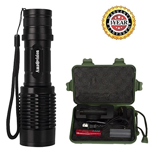 Amz vision Tactical Flashlights, Super Bright Portable Handheld LED Flashlight Zoomable Adjustable Focus 5 Light Modes Torch with 18650 Rechargeable Battery and Charger