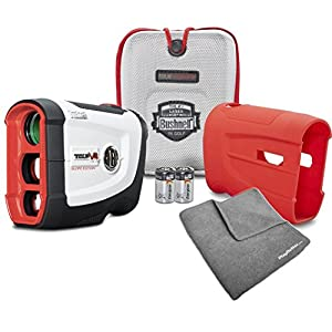 Bushnell Tour V4 Shift Patriot Pack BUNDLE | Includes Golf Rangefinder (Slope & Non Slope Function) with Carrying Case, Red Protective Skin, PlayBetter Microfiber Towel and Two (2) CR2 Batteries