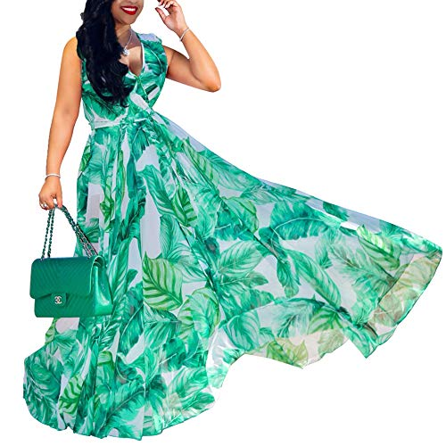 - WOOSEN Womens Summer Boho Chiffon Floral Print Maxi Dress V Neck Long Dresses with Belt