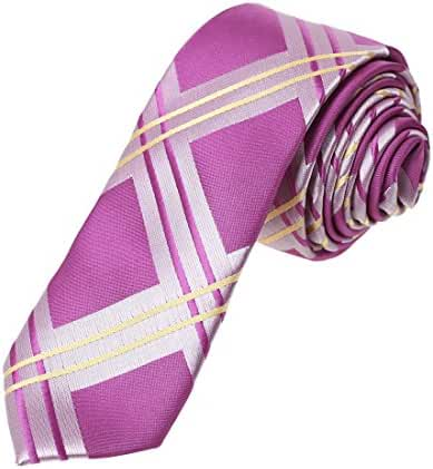 DAE7C01-03 Wholesale For Mens Woven Microfiber Checkered Skinny Tie By Dan Smith