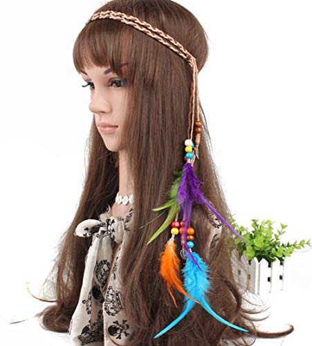 Woman Indiana Elegant Feather Headband Bohemian Gypsy Feather Headband Girls Favorite Hair Accessories]()