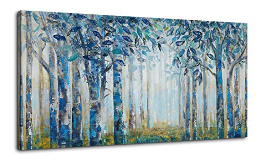 Canvas Wall Art for Living Room Bedroom Abstract Blue Teal White Birch Forest Picture Wall Decor Giclee Print Painting Modern Framed Artwork Ready to Hang for Home Wall Decoration Large Size 24x48