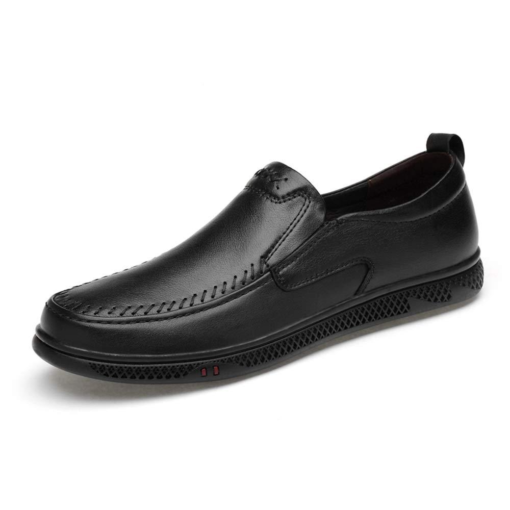 Noir Shuo lan Chaussures de Conduite pour Hommes Mocassin Occasionnel Confortable et Confortable perforé à Enfiler sur Le Dessus en Cuir véritable,Chaussures de Cricket 40 EU