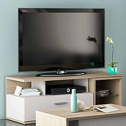Mesa de TV para comedor o salón en color roble y blanco de 120cm con una mesita auxiliar desplegable.: Amazon.es: Hogar