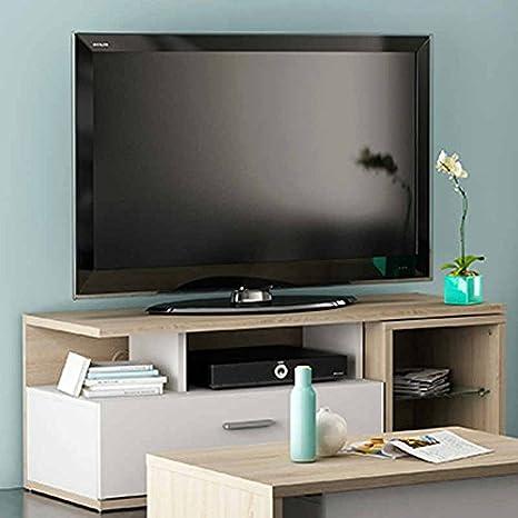 Mesa de TV para comedor o salón en color roble y blanco de ...